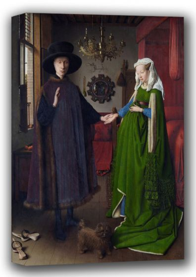 Eyck, Jan van: The Portrait of Giovanni Arnolfini and his Wife, The Arnolfini Marriage.. Fine Art Canvas. Sizes: A4/A3/A2/A1 (001730)